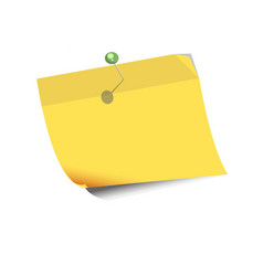 yellow paper for noting with pin isolated on white vector image vector image