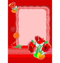 Easter cart with poppies vector image
