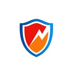 Electric bolt shield protect logo vector