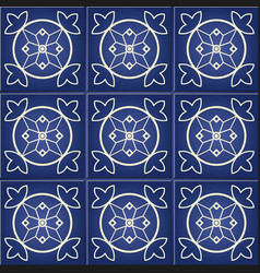 moroccan portuguese tiles azulejo ornaments vector image