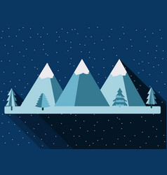 mountains in a flat style with a long shadow vector image
