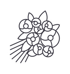rose bouquet line icon sign vector image