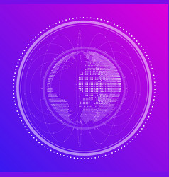 abstract digital of the globe in neon vector image
