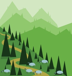 Abstract landscape design with green pine hills an vector