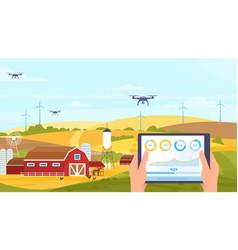 agriculture innovation farm technology cartoon vector image