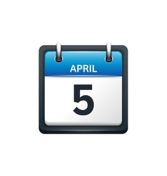 April 5 Calendar icon flat vector image