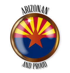 arizona proud flag button vector image