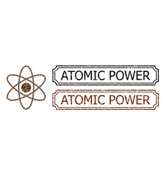 Atomic power textured badges with notches and atom vector