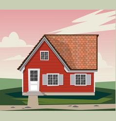 beautiful red house with white windows vector image