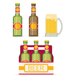 Beer set isolated on white background flat style vector