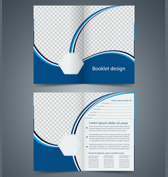 Blue bifold brochure template design business vector