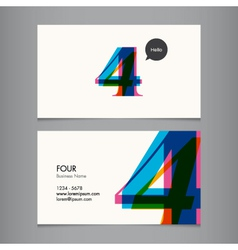 Business card with number 4 vector