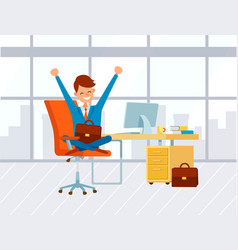 Businessman in office work cheerful boss working vector