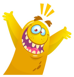 cartoon yellow monster halloween vector image