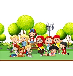 Children from different countries in the park vector