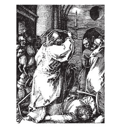 christ driving out the money-changers is a vector image