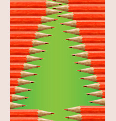 Christmas tree made by red pencils vector