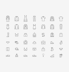 Clothing icon set in linear style fashion vector
