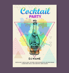 cocktail disco party poster vector image