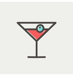 Cocktail drink with cherry thin line icon vector image