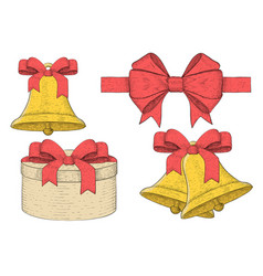 collection of holiday elements decorated with red vector image