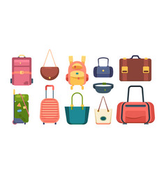 colored bags travel backpack fashioned woman vector image