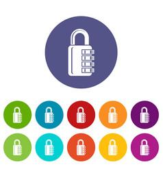 combination lock icons set color vector image