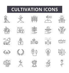 Cultivation line icons for web and mobile design vector