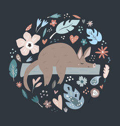 Cute hand drawn aardvark character with decoration vector