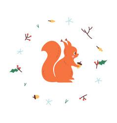 cute squirrel minimalistic vector image