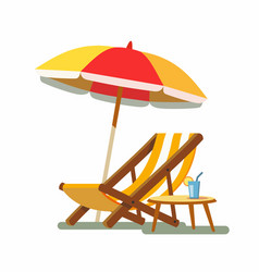 deckchair and umbrella on the beach vector image