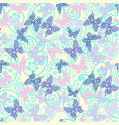 decorative butterflies and paisley pattern vector image