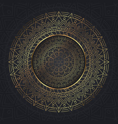 Decorative mandala background in gold and blue vector
