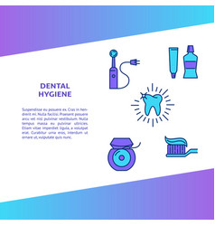 Dental hygiene banner template in colored line vector