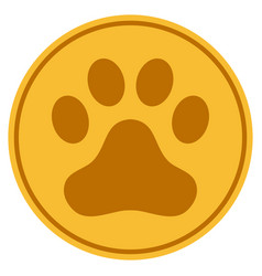 Dog step gold coin vector