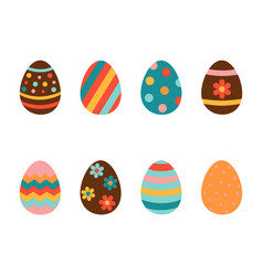 easter eggs icons set on a white background vector image