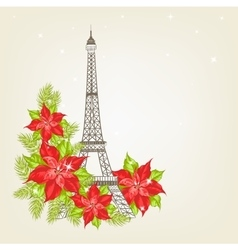 Eiffel tower with lavender flowers vector