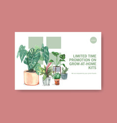 Facebook template with summer plants design vector