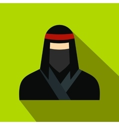 Female ninja in a black mask flat icon vector image