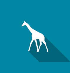 Giraffe flat icon with long shadow vector