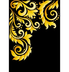 Golden floral ornament with leaves and swirls vector image