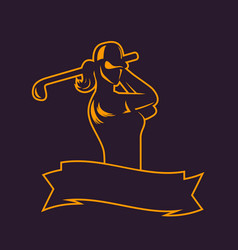 Golf logo template outline of girl swinging club vector