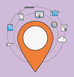 Gps mark and social media icon set design vector