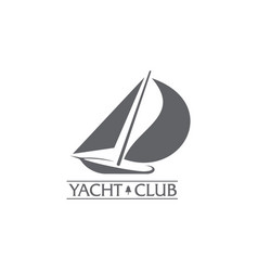 graphic yacht club sailing sport logo with wind vector image