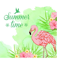 green watercolor background with flamingo vector image