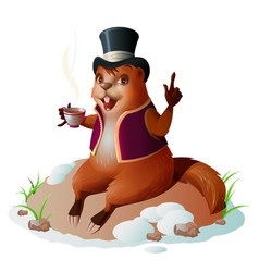 Groundhog forecaster climbed out hole sitting vector