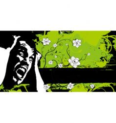 grunge floral fear banner vector image
