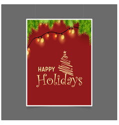 happy holiday christmas tree background vector image
