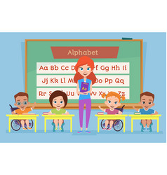 healthy children and children with disabilities vector image