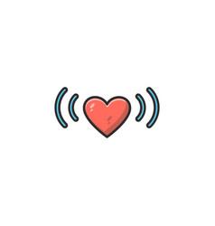 Heart and signal logo design symbol dan icon vector